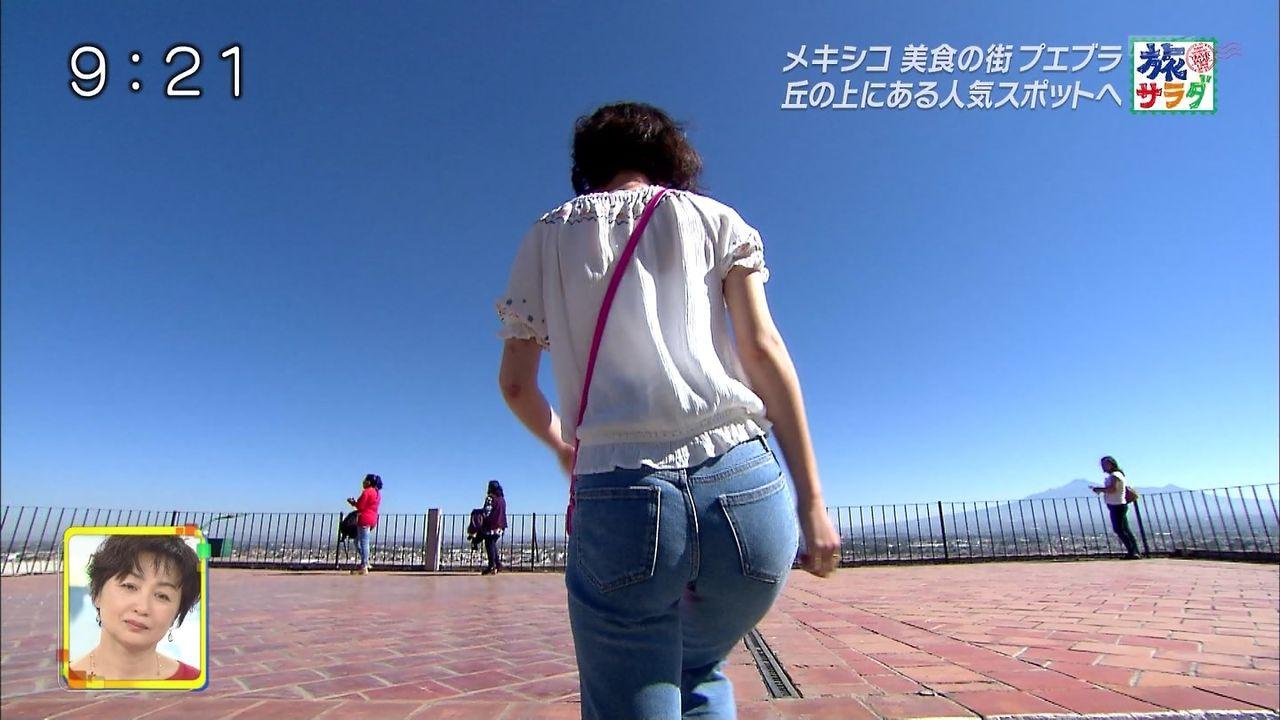 旅サラダガールズ・吉倉あおいさんのジーンズお尻wものすごいエッチなナマナマしい状態がアップにw