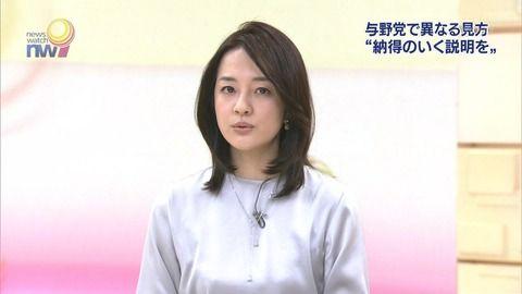 鈴木奈穂子アナのキャミも透けてるトンガリおっぱい。