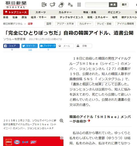 【SHINeeメンバー訃報】朝日新聞がジョンヒョンさんの遺書全文を和訳して公開した結果→現在・・