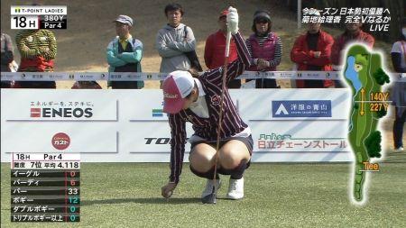 女子ゴルフ選手のしゃがみパンチラ&ミニスカ尻エロ目線画像(Tポイントレディス編ほか)