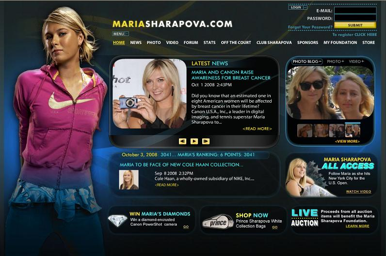 mariasharapova.com マリア・シャラポワ公式サイト