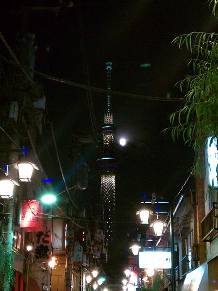 浅草スカイツリー月