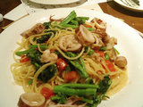 ヤリイカと菜ばなのスパゲティー