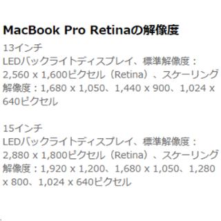 MacBook Pro Retinaの利点 解像度 スペック