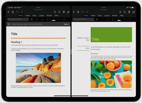 Office for iPad Split View