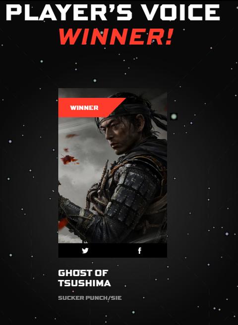 【朗報】ゴーストオブツシマが「The Game Awards 2020」のPlayer's Voice Awardを受賞!
