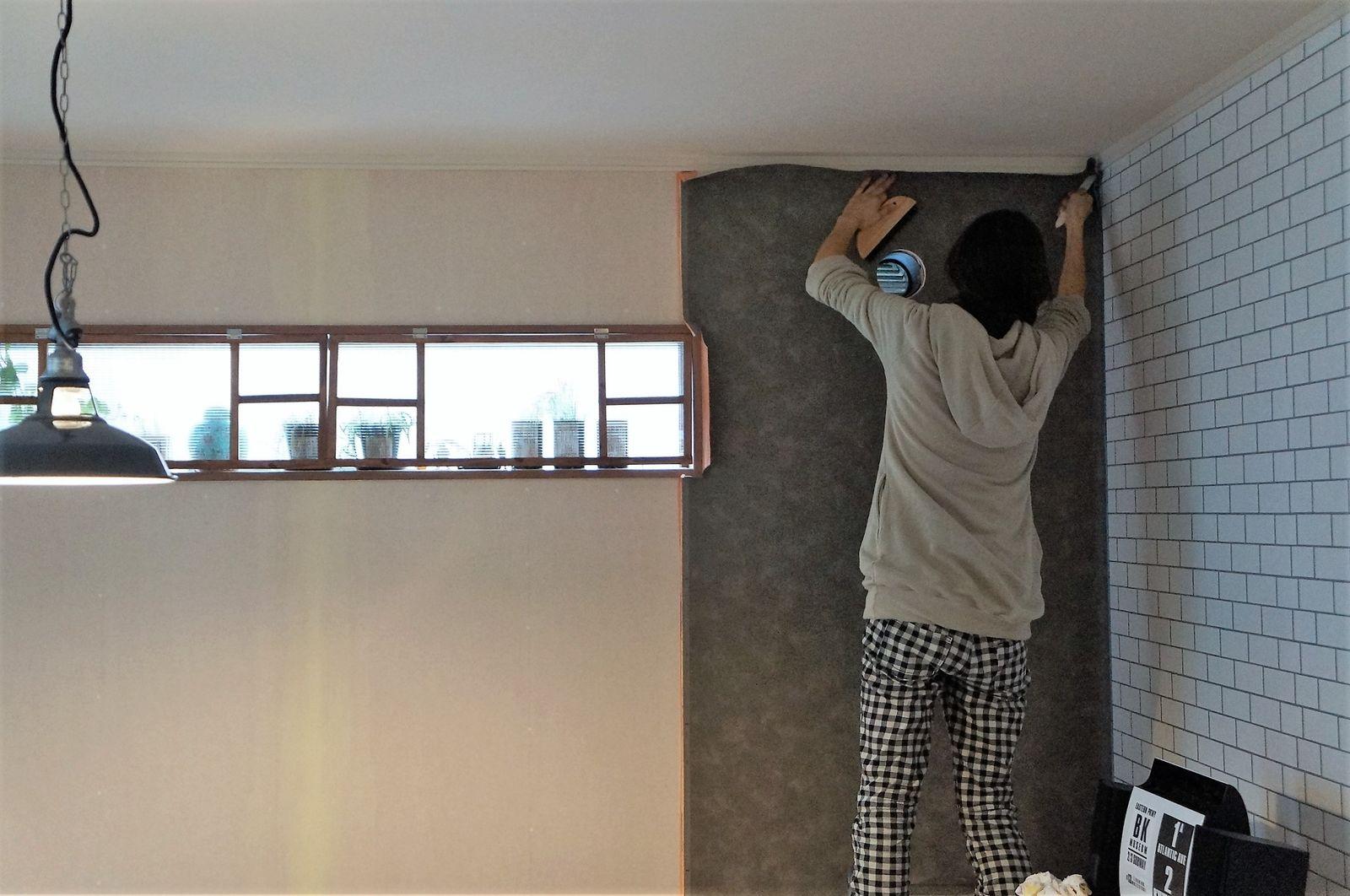白タイル風キッチン完成 次はコンクリート風壁紙の貼り替え Live