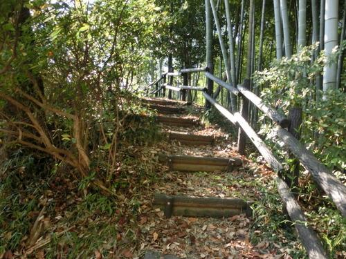 井楼跡の傍には盛り土の階段が ...