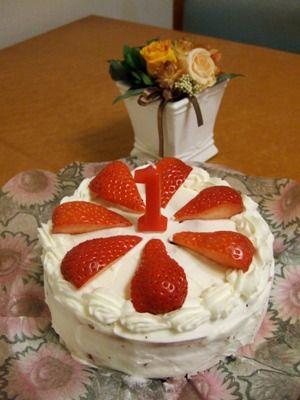豆子1歳BDケーキ