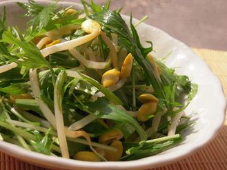 水菜と大豆もやしのさっぱり柚子胡椒風味