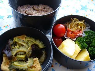 ゴーヤとなすの梅味噌炒め煮のお弁当