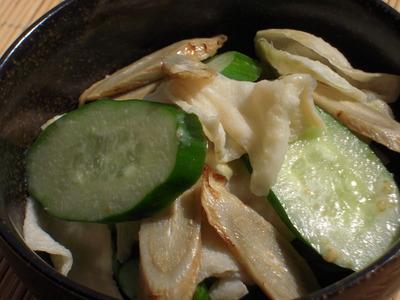 きゅうりと焼きゴボウと切り干し大根の柚子胡椒マヨ風味