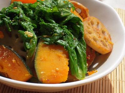 かぼちゃと蓮根とわさび菜の焦がし醤油塩麹風味
