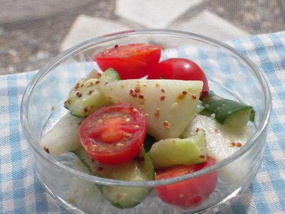きゅうりと冬瓜の糠漬けとトマトの粒マスタード風味