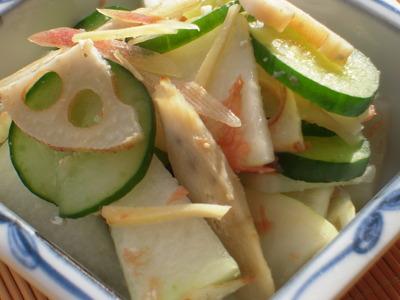 大根ときゅうりの塩麹漬けと焼き根菜の梅茗荷和え