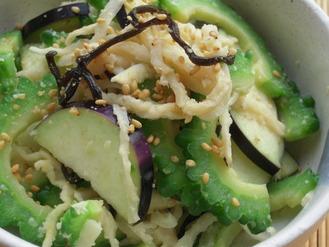 ゴーヤと切り干し大根の塩昆布胡麻マヨ風味