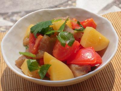 トマトとじゃがいものぷりぷる三つ葉塩麹風味