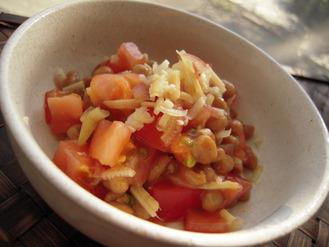トマトと納豆のピリッと爽やか茗荷風味