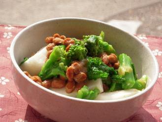 菜の花と長いもと納豆の梅風味