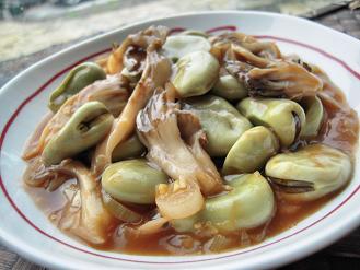 そら豆と舞茸のチリソース