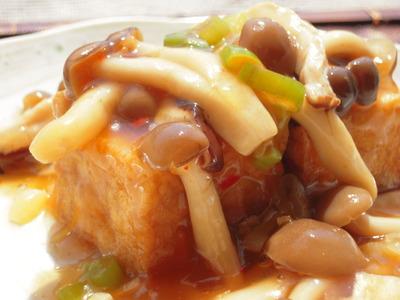 厚揚げのステーキきのこあんかけ中華風味