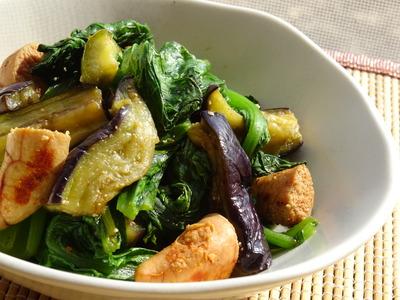小松菜とナスと焼き明太子の炒めもの