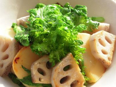 筍と蓮根とワサビ菜の塩麹風味