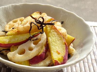 さつま芋と蓮根の梅塩昆布風味