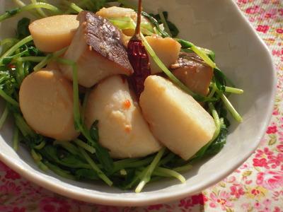 里芋とエリンギと豆苗の味噌ペペロン風味