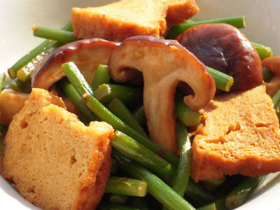 にんにくの芽と椎茸と厚揚げのピリッと醤油風味