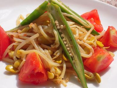 大豆もやしとオクラのトマトペペロン風味