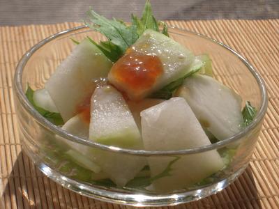 大根と冬瓜の塩麹漬けサラダ青じそ風味