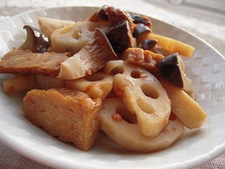 蓮根とエリンギとカリカリテンペの梅バルサミコ風味