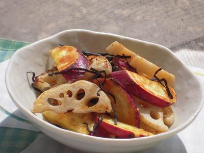 さつま芋と蓮根の塩昆布生姜風味