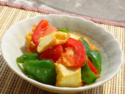 厚揚げとトマトとピーマンの生姜味噌風味