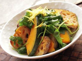 かぼちゃと蓮根の柚子味噌三つ葉風味