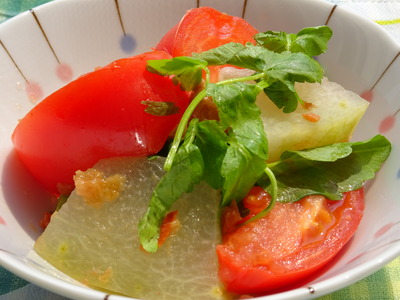 トマトと冬瓜の梅セリ風味