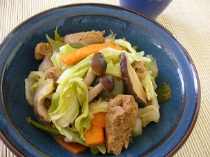 グルテンミートと野菜の梅ぇ炒めもの