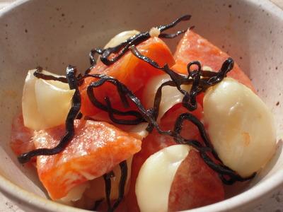 柿とゆり根の塩昆布マヨ和え