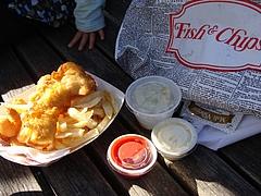 サウサリートでFish and Chips(海老入り)