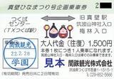 関鉄観光真壁ひなまつり号企画乗車券H22大人往復