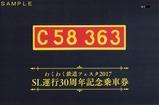 第13回わくわく鉄道フェスタ☆SL運行30周年記念乗車券外