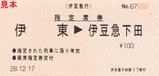 伊豆急行伊豆初日の出号H29指定席券伊豆急下田駅