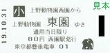 20191031上野懸垂線乗車券西園駅ゾウ