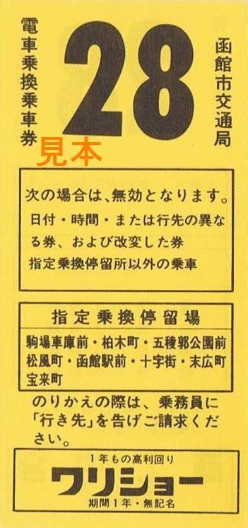 H2函館市電車乗換乗車券1系統 ...