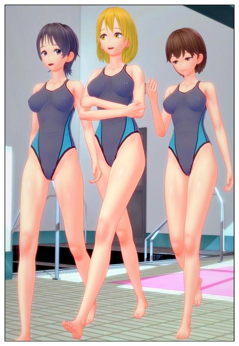 競泳水着の女子に変身_013