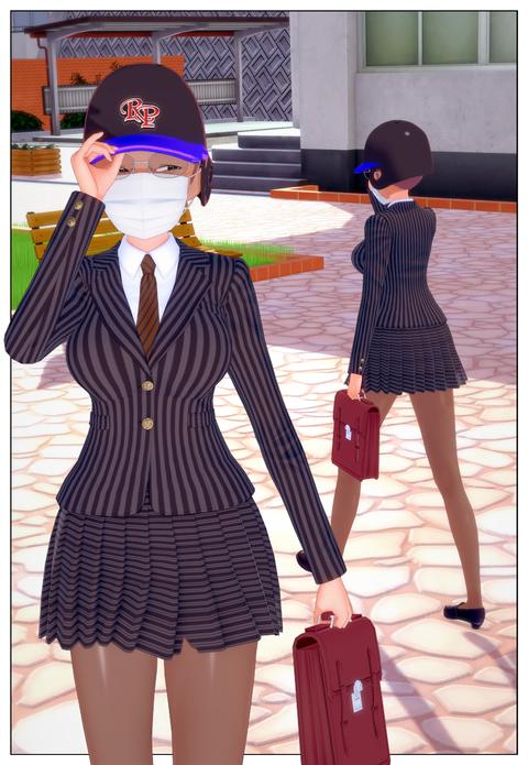 スクール水着の女子と合体_006