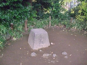 六義園 藤代峠 藤代峠にある将軍の腰掛け石