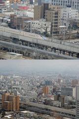 富山駅を出発する新幹線