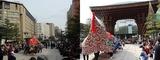 金沢駅前の巨大獅子舞